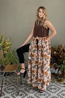 Brown Hibiscus Top.