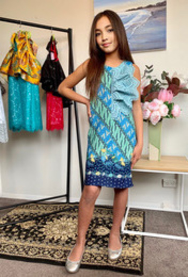Short Blue Batik Dress.